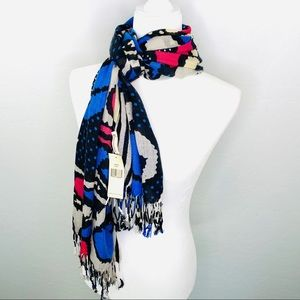 Accessories - NWT floral blue pink black fringed scarf